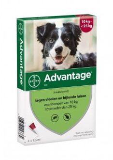Advantage Nr. 250 vlooienmiddel (10 tot 25kg) hond 3 stuks