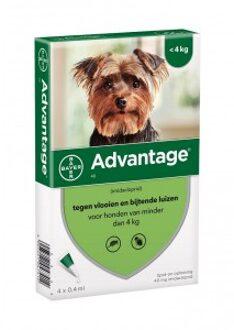 Advantage Nr. 40 vlooienmiddel (tot 4kg) hond 2 stuks