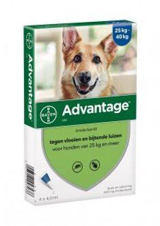 Advantage Nr. 400 vlooienmiddel (vanaf 25kg) hond 2 stuks