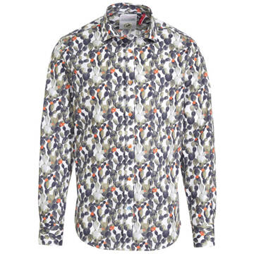 A FISH NAMED FRED slim fit overhemd met all over print wit/groen - 3XL